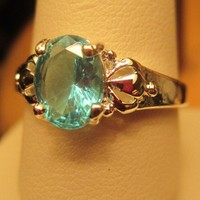 Ring Vintage Retro Aquamarine Sterling Silver 925 Royal Crowns 7 1/2