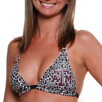 Texas A&M Aggies Women's Spring Break Animal Print Bikini Top - White