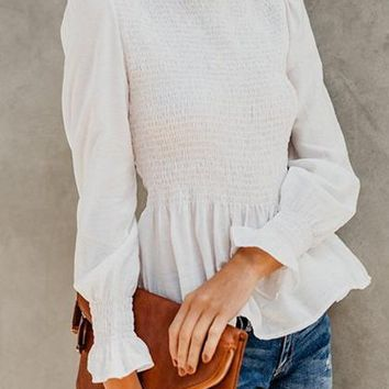 White High Neck Ruched Detail Frill Trim Long Sleeve Chic Women Blouse