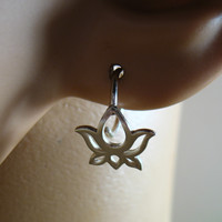 Hoop Earring Sterling Silver Lotus Flowers