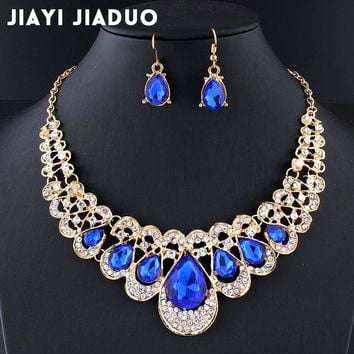 jiayijiaduo Wedding jewelry set Navy blue crystal necklace earrings for the charm of women jewelry Gold color gift drop shpping