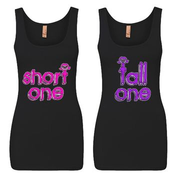 Short One and Tall One Girl BFFS Jersey Tank Tops