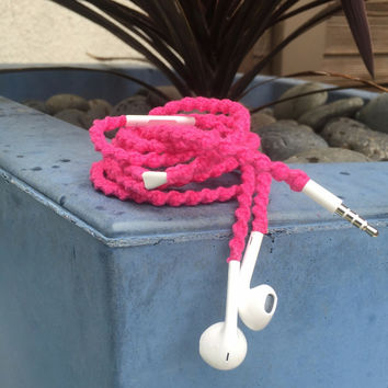 Hot Stepper Pink MyBudsBuzz Wrapped Headphones Tangle Free Earbuds Your Choice of Headphones