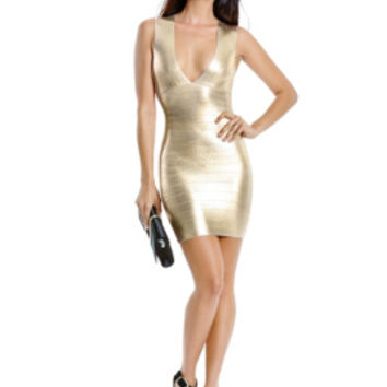 Samira Coated Bandage Dress