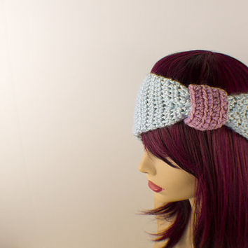 Crochet Light Blue & Lavender Hairband Bow