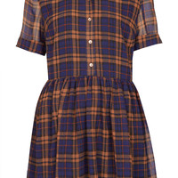 Check Shirt Drop Waist Dress