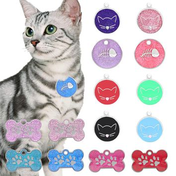 Lovely Cat ID Tag Stainless Steel tags Pet Collar Accessories Necklace Decorative Name Telephone ID Pendant for Cat Dog 2 Styles