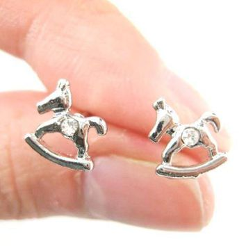 Small Rocking Horse Shaped Animal Stud Earrings in Silver