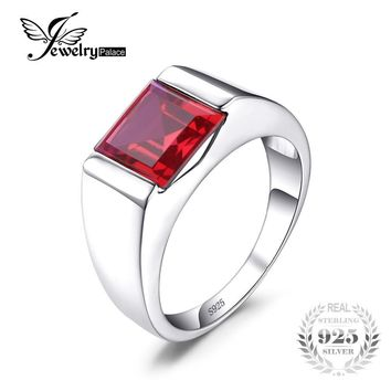 JewelryPalace Men's Square 3.3ct Created Red Ruby 925 Sterling Sliver Engagement Ring for Men