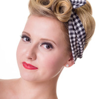 Retro 60's Pinup plaid and gingham check Pattern Elastic Campus Headband
