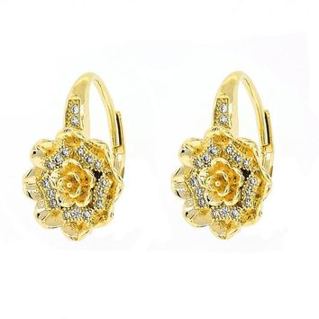 Gold Layered 02.195.0055 Leverback Earring, Flower Design, with White Micro Pave, Polished Finish, Golden Tone