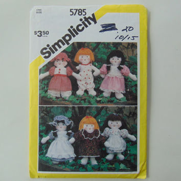Simplicity 5785 Mini Doll and Wardrobe Sewing Pattern UNCUT
