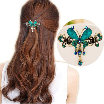 Tomtosh New Vintage Women Elegant gem Butterfly Flower Hairpins Hair Barrette Clip Crystal Butterfly Bow Hair Clip Hair