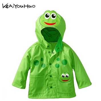 KEAIYOUHUO Lovely frog beetles pattern rain age season rainy breathable waterproof girls boys coat children's wear a raincoat