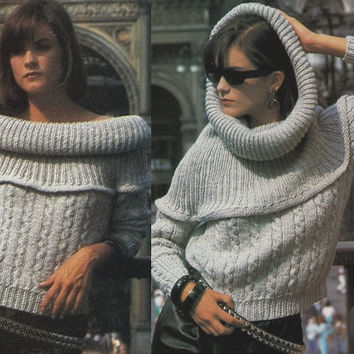 Off shoulder sweater vintage hood pattern PDF Instant Download ribbed yoke sweater slouchy hood knitting supplies epsteam knitting pattern