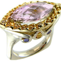Elegant Indulgemce Collection East West Pink Amethyst Marquis Ring