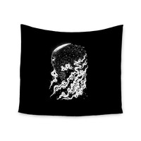 "BarmalisiRTB ""Alien Light"" Black White Wall Tapestry"