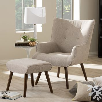Baxton Studio Nola Mid-Century Inspired Beige Fabric Upholstered Occasional Armchair and Ottoman Set Set of 1