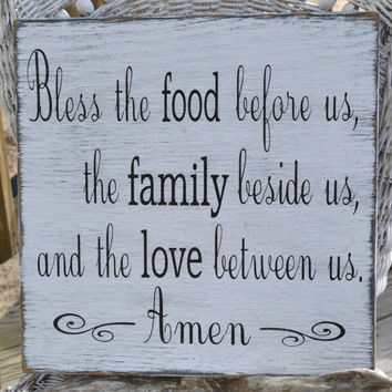 "Beautiful Handpainted Blessing, Dining Room, Kitchen Vintage Sign ""Bless the food before us, the family beside us and the love between us"""