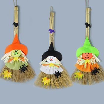 Cartoon Witch Pumpkin Ghost Kid Pendant Sunny Doll Broom for Home Room Halloween Decoration Bar Party Hanging Ornament #TX4