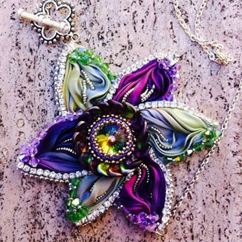 Tutorial Shibori Silk Flower  Pendant - beaded Embroidery