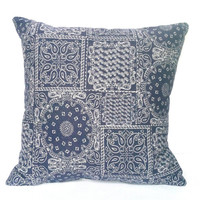 Purple Bohemian Bandana Print Throw Pillow, 14x14, Home and Dorm Decor - Pillow Insert Included
