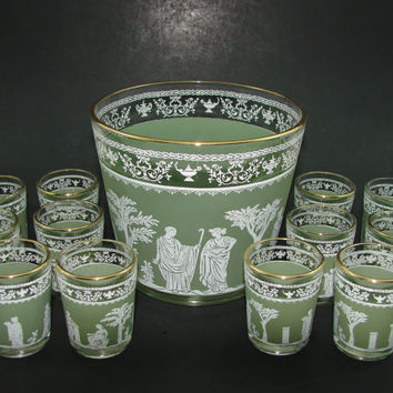 Jeannette Glass Hellenic Grecian Ice Bucket 12 Shot Glasses Green Barware