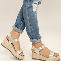 Steven by Steve Madden Sabble Gold Leather Espadrille Wedges