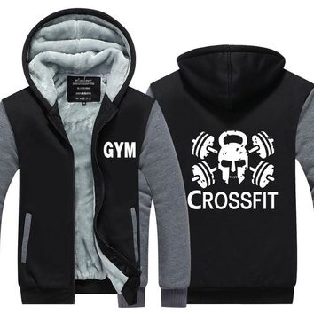 New Fashion  Crossfit Hoodies Men Fitness Tops Skull Swag Thicken Zipper Fleece Long Sleeve Sweatshirts mans Plus Size