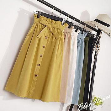 Summer Autumn Skirts Womens 2018 Midi Knee Length Korean Elegant Button High Waist Skirt Female Pleated School Skirt