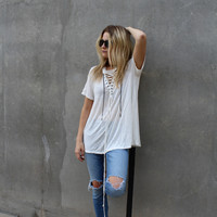 Concert Tee Lace Up Tunic (White)