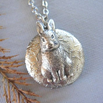 Rabbit LOCKET, Silver Locket, Bunny Locket, Rabbit Necklace, Bunny Necklace, Wildlife Jewelry