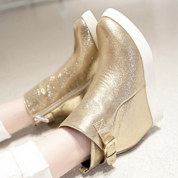 Gold Silver Black 2015 Fashion Sequined Cloth Side Zipper Ankle Boots For Women Pointed Toe Elevator Shoes Platform Wedge Boots