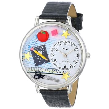SheilaShrubs.com: Unisex Teacher Black Skin Leather Watch U-0640001 by Whimsical Watches: Watches