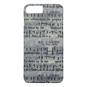 Tileable Grunge Music Score Pattern iPhone 7 Plus Case