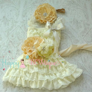 Ivory Champagne Embellished Girl's Dress set/ Rustic Country Flower girl dress