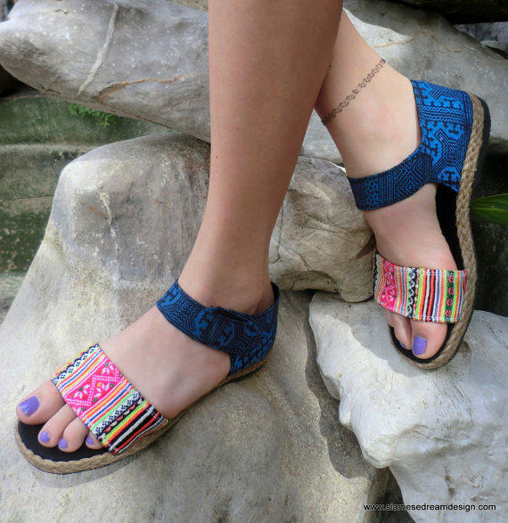 Vegan Flat Sandal In Colorful Hmong Embroidery &  Deep Blue Batik