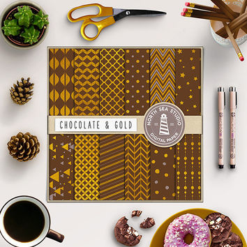Chocolate And Gold Digital Paper Gold Foil Paper Brown Backdrop Gold Patterns Stripes Polkadots Confetti Chevron 12x12 Inches Gold Paper