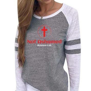 Not Ashamed Women's Baseball Jersey Christian Semi-Fitted Long Sleeve Shirt