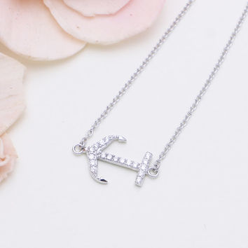 925 sterling silver  cubic zirconia anchor necklace