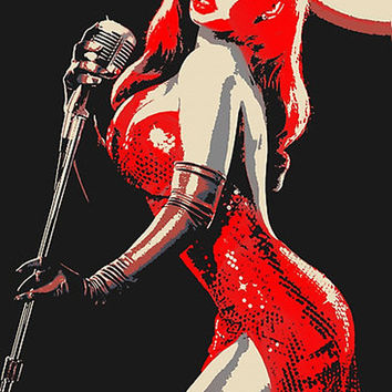 Erotic Art 200gsm paper poster - Jessica Rabbit pop art, sexy singer print, hot red dress, conte style cartoon image High Res, 300dpi sketch