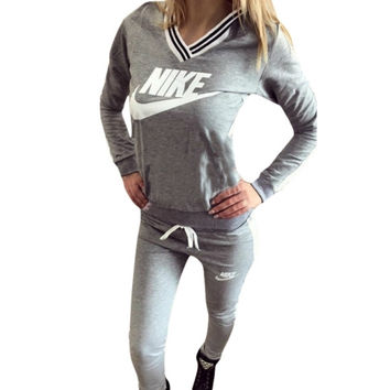 Gray Letters Long Sleeve Shirt Sweater Pants Sweatpants Set Two-Piece Sportswear