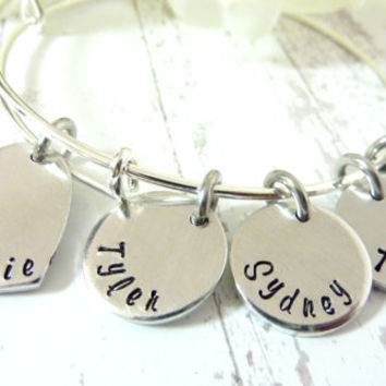 Grandma Bracelet Mothers Day Personalized Bracelet Expandable Hand stamped Jewelry