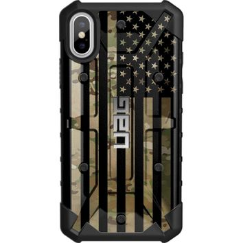 """LIMITED EDITION - Authentic UAG- Urban Armor Gear Case for Apple iPhone X (5.8"""" Screen) Custom by EGO Tactical- Subdued US Flag over Multicam / Scorpion Camo"""
