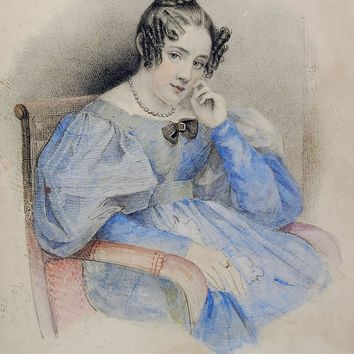 Regency Era Hand Painted Lithograph