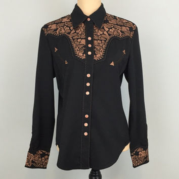 Black Western Shirt Medium Womens Western Clothing Cowgirl Country Western Embroidered Floral Snaps Free Shipping Size 8 10 Women Clothing