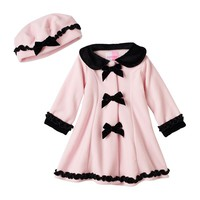 Sophie Rose Ruffled Bow Fleece Jacket - Baby Girl, Size: