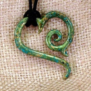 Caribbean Green Tribal Heart Pendant