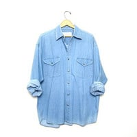 25% OFF SALE Denim Shirt 90s Jean Preppy Grunge Button Up Shirt Faded Blue 1990s Womens XL Top Oversize Long Sleeve Vintage Men Large
