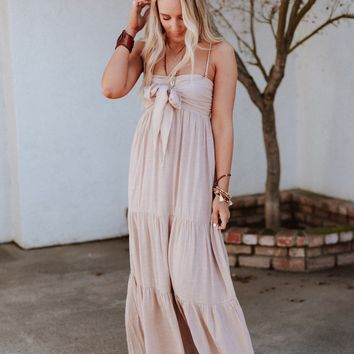 Anastasia Tie Front Tiered Maxi Dress - Blush